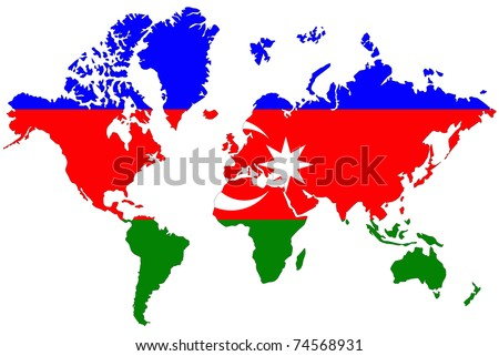 World map background with flag.