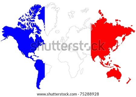 World map background with France flag.