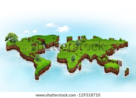 World map background with grass field - stock photo