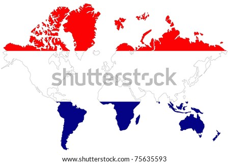 World map background with Netherlands flag.