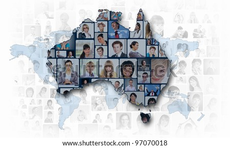 World map background with people portraits on it - stock photo