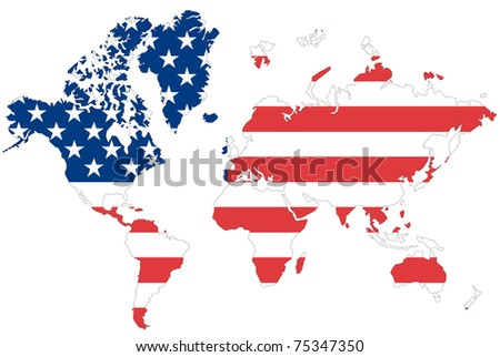 World map background with USA flag.