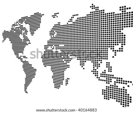 Dotted World Map Black White Stock Vector 422419810 Shutterstock