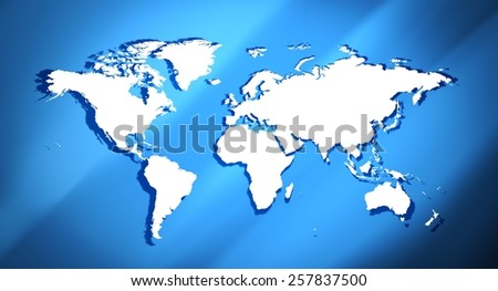 World map blue background