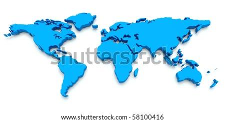 World Map. Blue. 3D render - stock photo