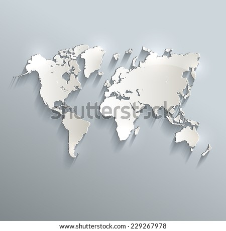 World map blue white card paper 3D raster - stock photo