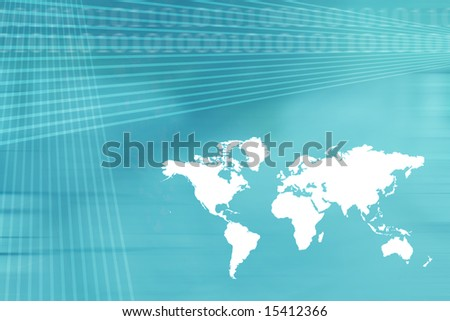 World Map Business Background in Blue Tones
