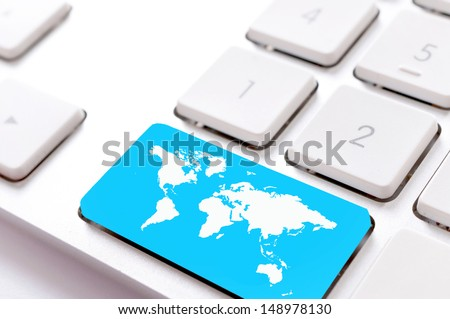 World map button on the keyboard  - stock photo