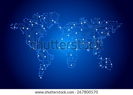 world map by circuit board - technology concept - stock photo