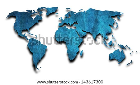 world map by old color paper on white background
