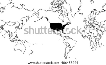 world map centered on united states of america with grey outline on white background with black internal borders - planet geographic map - global earth cartographic picture in wide view - stock photo