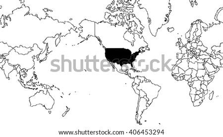 World Map Centered On United States Stock Illustration - United states world map