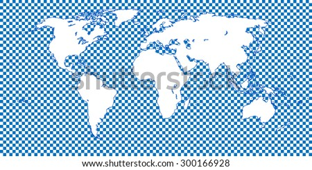 World Map Checkered Blue 1 Big Squares - stock photo