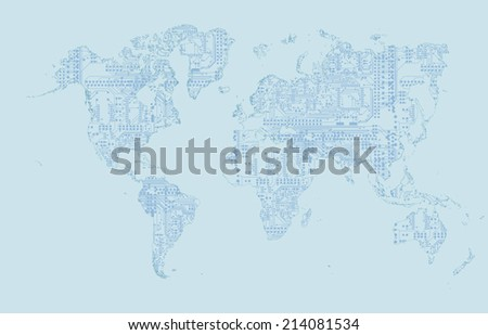 World Map  circuit board vector background - stock photo
