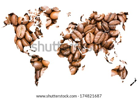 World Map Coffee Beans Isolated On White
