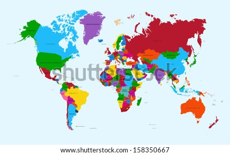 World map, colorful countries with text Atlas illustration.