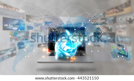 World map connected, Social network concept.communication  - stock photo