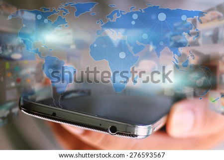 World map connected.Social network concept.globalization business.