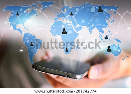 World map connected.Social network concept.globalization business. - stock photo
