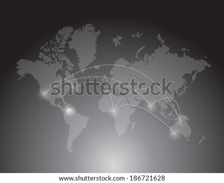 world map connection. illustration design over a white background