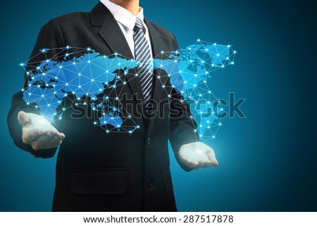 World map connection in hand - stock photo