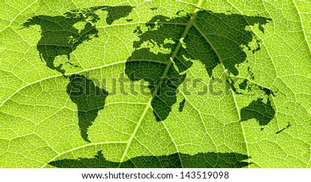 World map, continents in green leaf background.  - stock photo