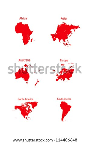 World Map 6 continents isolated on white background