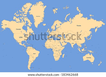 World Map - Countries - stock photo