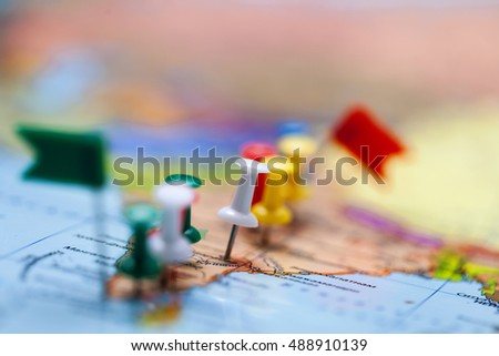 World Map Country Flags Marked Pin Stock Photo 488910139