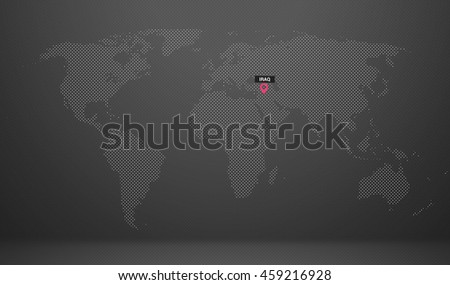 world map country name abstract dot design iraq