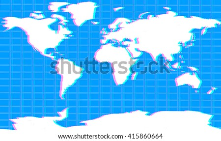 World Map . 3D illustration. Anaglyph. View with red/cyan glasses to see in 3D.
