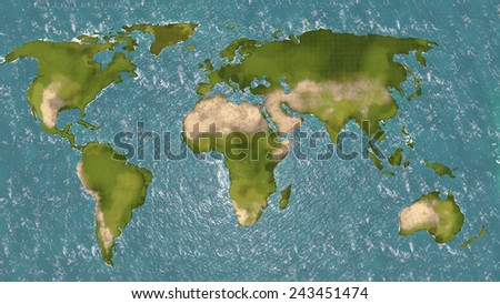 World map 3d. Shaded relief colored according to vegetation.  - stock photo