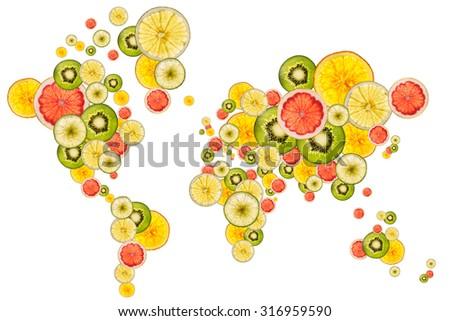 world map designed with slices of fresh ripe fruits - stock photo