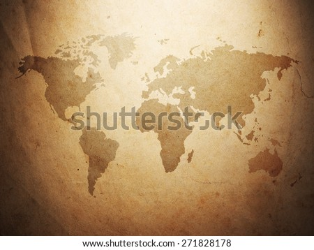world map displayed on the corrugated old paper. Close up - stock photo