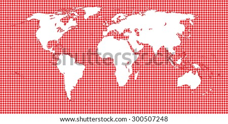 World Map Dotted Red 1 Big Dots - stock photo