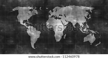 world map draw on chalkboard - stock photo