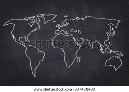 world map drawing on black chalkboard illustration - stock photo