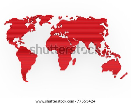 world, map , earth, europe, america, africa, red - stock photo