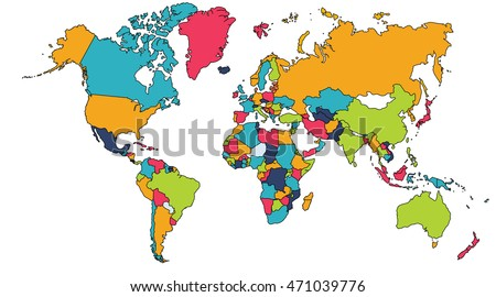 World map europe asia north america ilustracin de stock471039776 world map europe asia north america south america africa australia gumiabroncs Image collections
