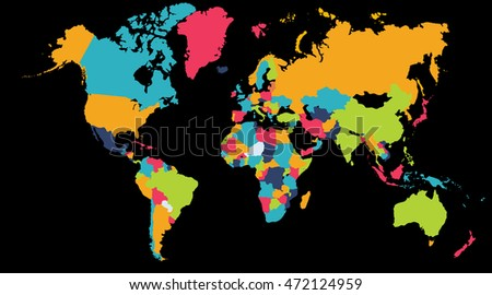 World Map Europe Asia North America Stock Illustration 472124959 ...
