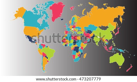 World Map Europe Asia North America Stock Illustration 473207779