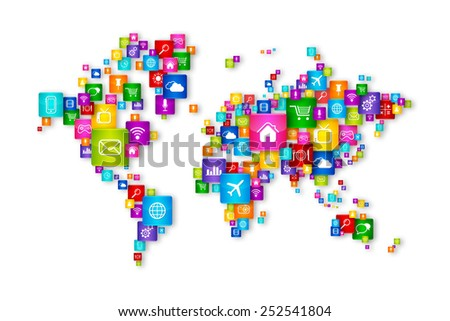 World Map Flying Desktop Icons collection. Cloud Computing concept - stock photo
