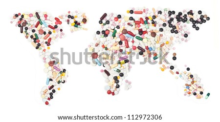 world map form pills on white.