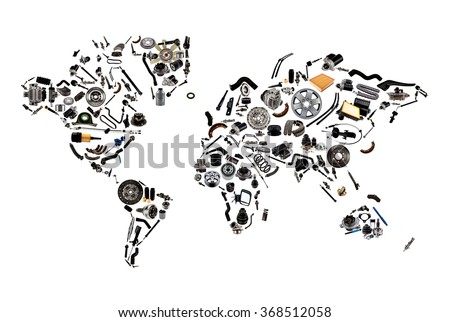 world map from lot of car spare parts isolated on white background - stock photo