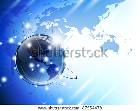 World map (from NASA public domain http://earthobservatory.nasa.gov/GlobalMaps) with glossy earth globe - stock photo