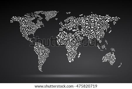 World map notes on black background stock illustration 475820719 world map from notes on black background white notes pattern black and white design gumiabroncs