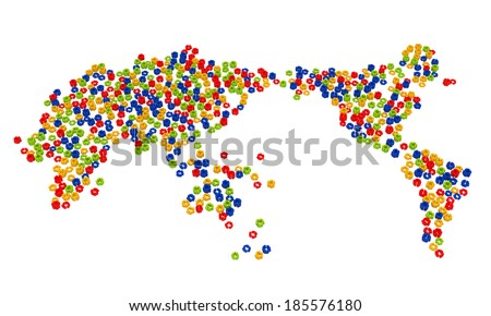 World map from recycle symbols - stock photo