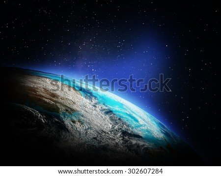 World map from space. Elements of this image furnished by NASA - stock photo
