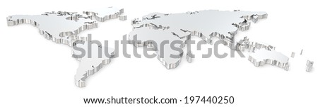 World map. Front view of steel world map. Wide image. - stock photo