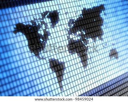 World map Full collection of icons like that is in my portfolio - stock photo